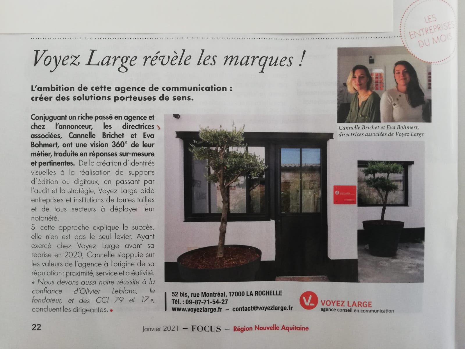 Voyez Large dans l'Obs Nouvelle Aquitaine La Rochelle